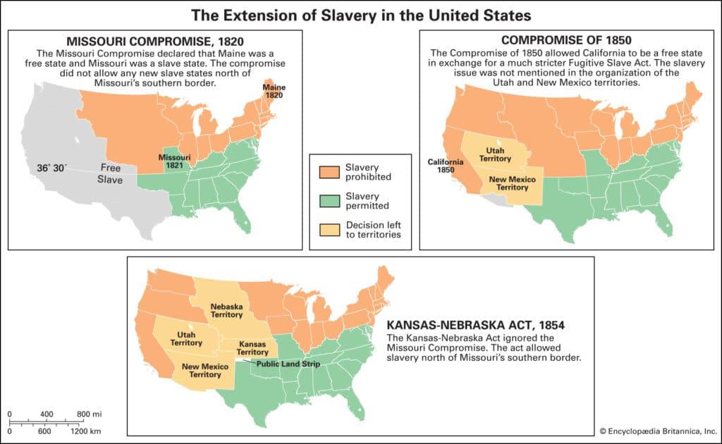 Maps Compromises Extension Slavery Areas Territories Missouri 1850 1024x630