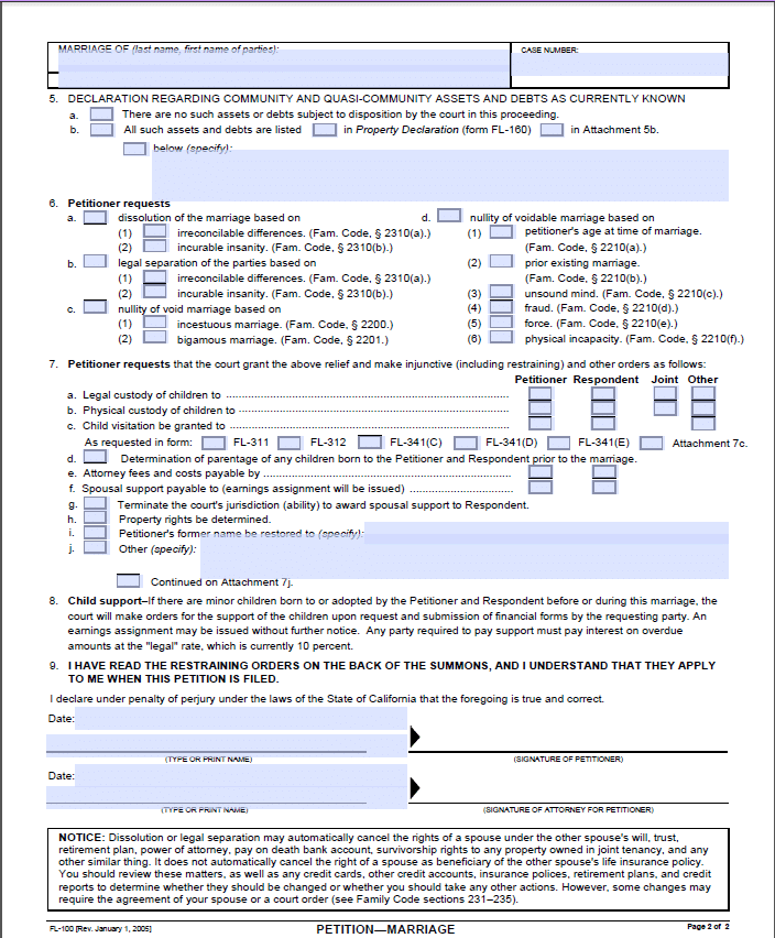 California Petition For Divorce Separation For Married Couples FL 100 Page 22