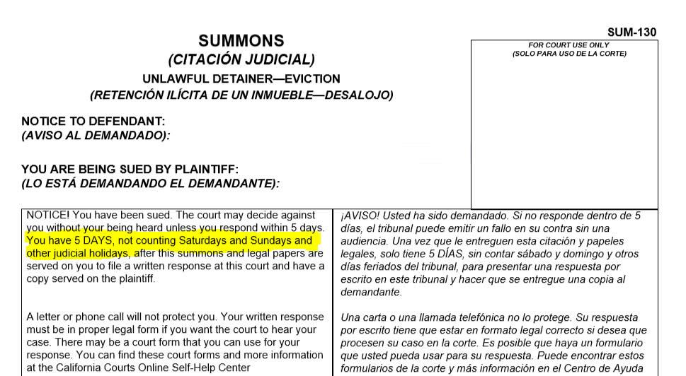California Unlawful Detainer Summons