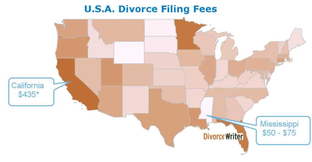 Divorce Filing Fees Map 1024x531