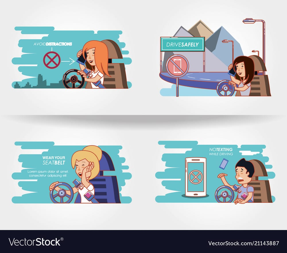 People Driving With Driver Safely Icons Vector 21143887
