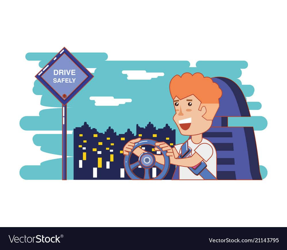 Person Driving For Driver Safely Campaign Vector 21143795