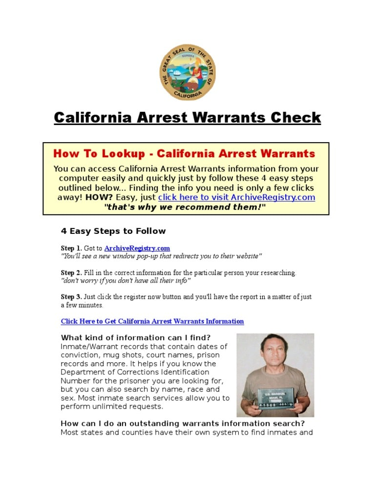 How to check for arrest warrants in California